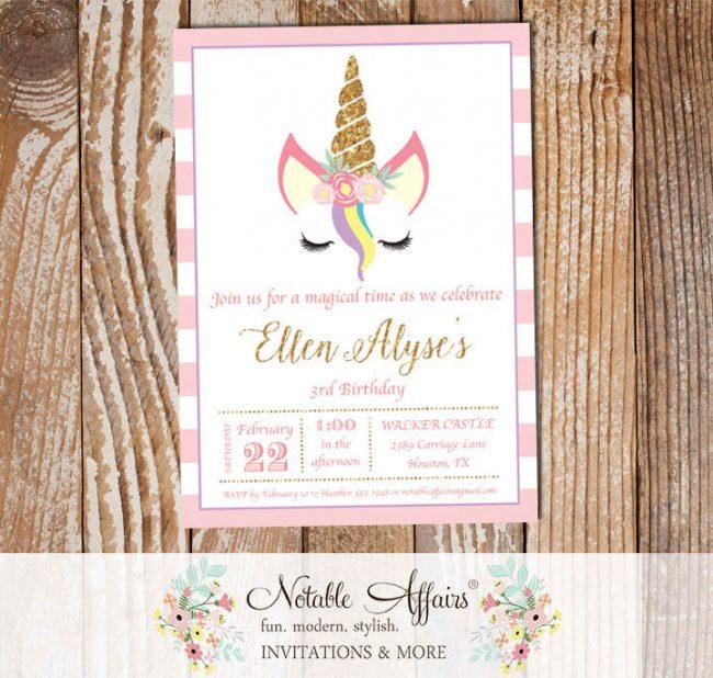 Light pink stripes gold glitter unicorn head invitation