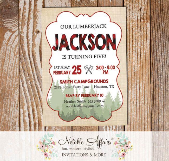 Lumberjack Camping Birthday Invitation