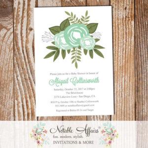 Mint Ghost Mint Flower Posie Modern Floral Gender Neutral Baby Shower invitation