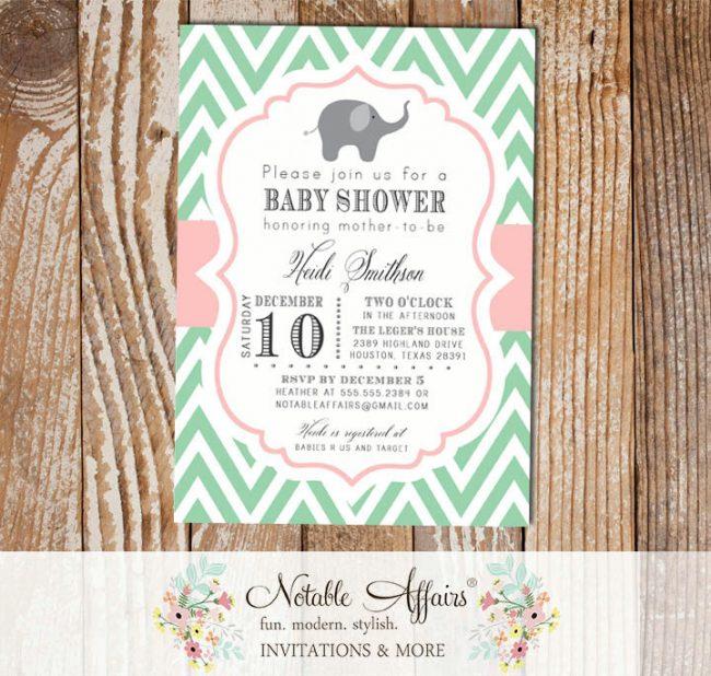 Mint Green and Light Pink Chevron Elephant Modern Baby Shower Birthday Invitation