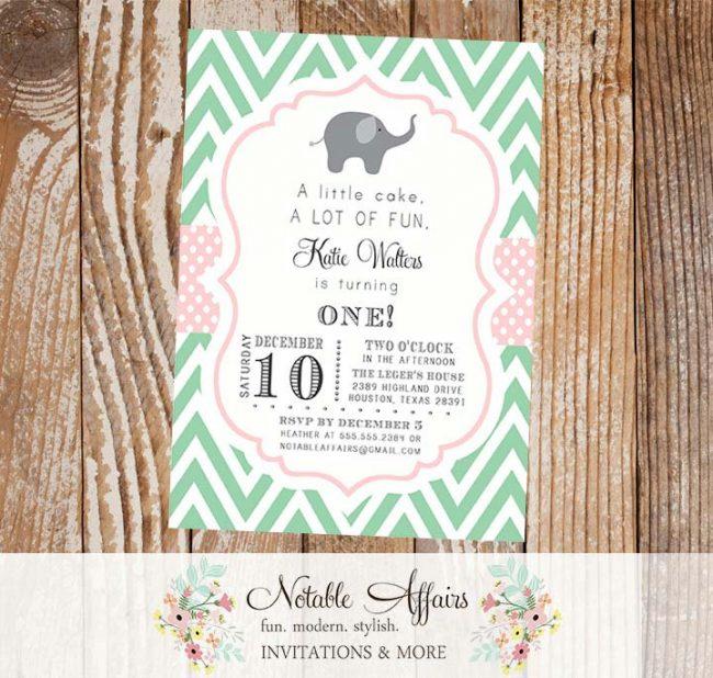 Mint Green and Light Pink Chevron Polka Dots Elephant Modern First Birthday Baby Shower Invitation