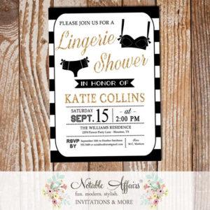 Modern Black and Gold Glitter Lingerie Shower invitation on black stripes