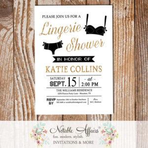 Modern Black and Pink Lingerie Shower invitation
