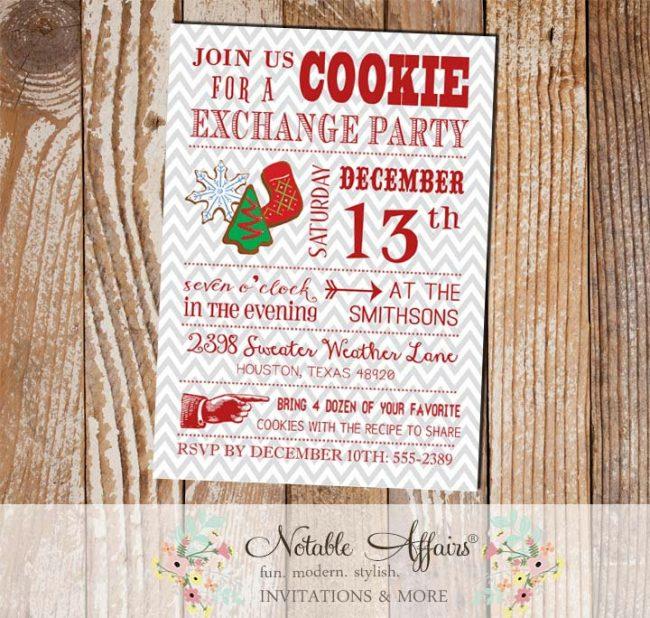 Modern Christmas Cookie Exchange Party Invitation on gray chevron