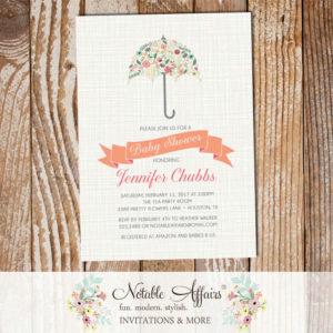 Modern Elegant Flowers Umbrella Baby Shower  Sprinkle invitation