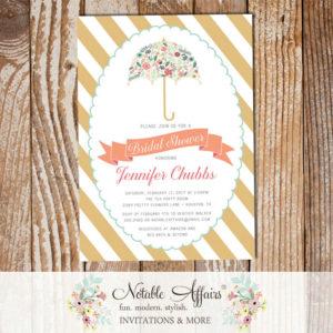 Modern Elegant Flowers Umbrella Briday Shower Baby Shower Sprinkle invitation on Tan Gold stripes