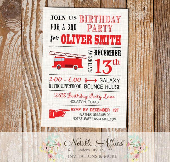 Modern Firetruck Birthday Party invitation