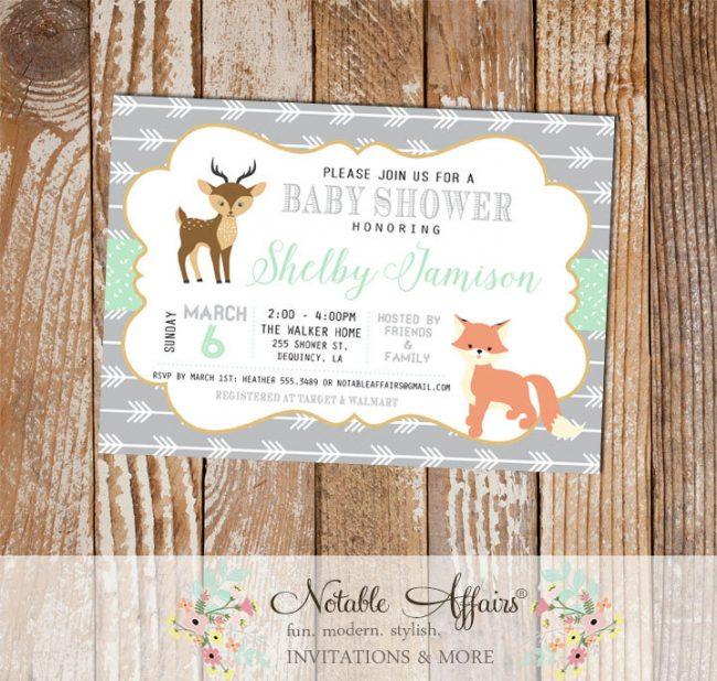 Modern Fox Deer Woodland Animals invitation on arrow background
