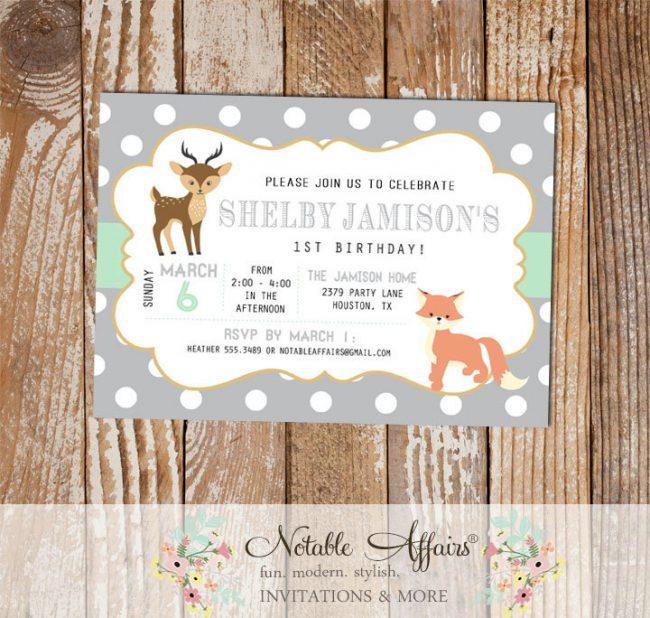 Modern Fox Deer Woodland Animals invitation on Dots background