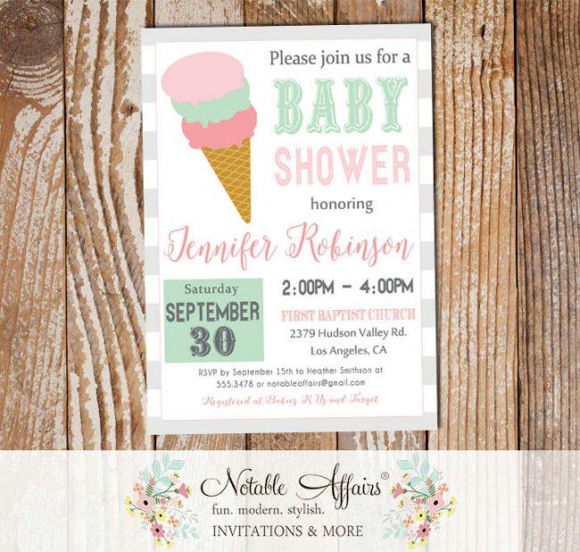 Modern Ghost Mint Light Pink Ice Cream Cone Sweet Dessert Baby Shower Invitation