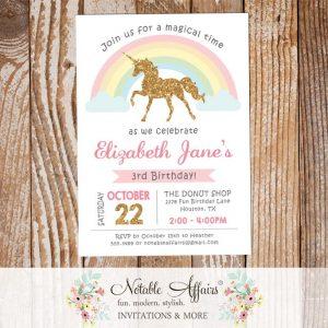 modern gold glitter unicorn pastel rainbow invitation