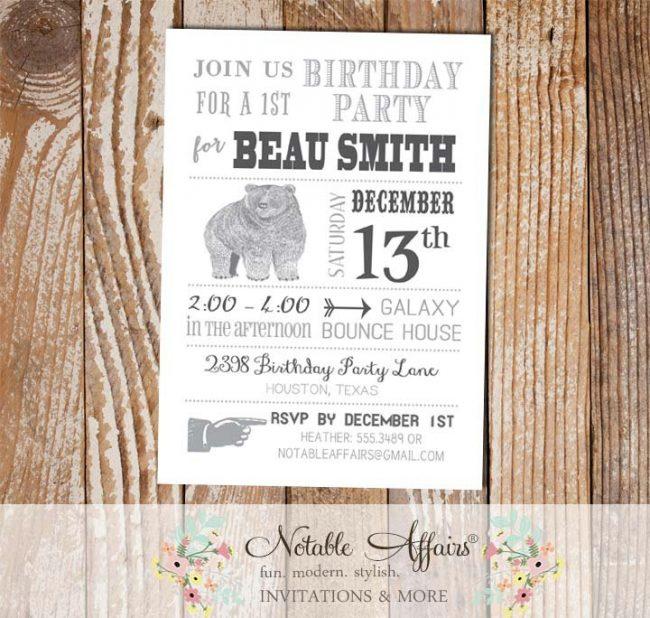 Modern Grizzly Bear Birthday Party invitation