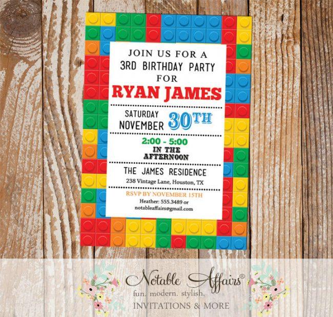 Modern Lego Blocks Birthday Party invitation