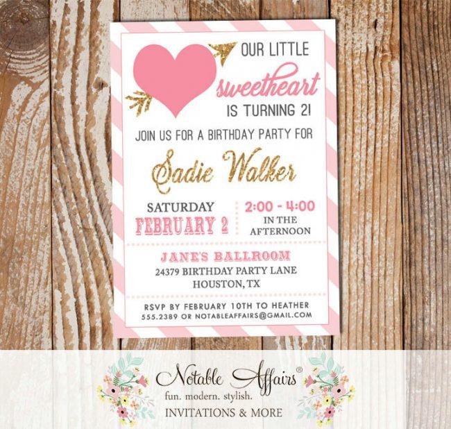 Modern Light Pink Pink Gold Diagonal Stripes Sweetheart Valentines Day Birthday invitation