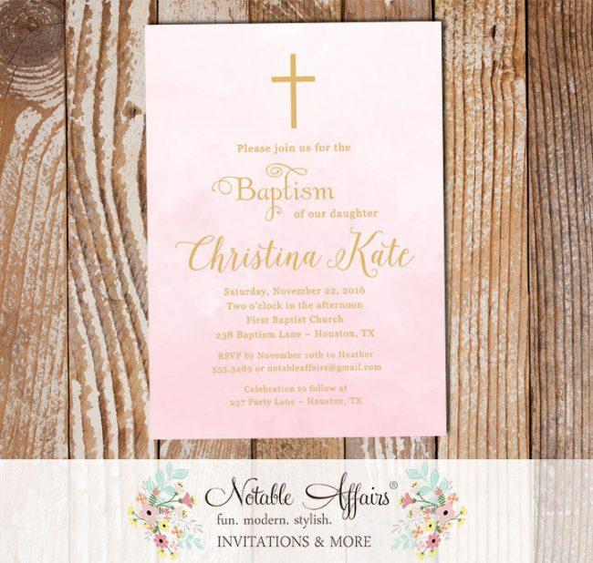Modern Light Pink Watercolor Tan Gold Baptism Christening Invitation