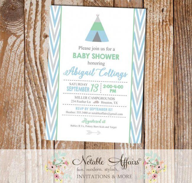 Modern pastel Indian pow wow Arrow Tent Boy Baby Shower invitation