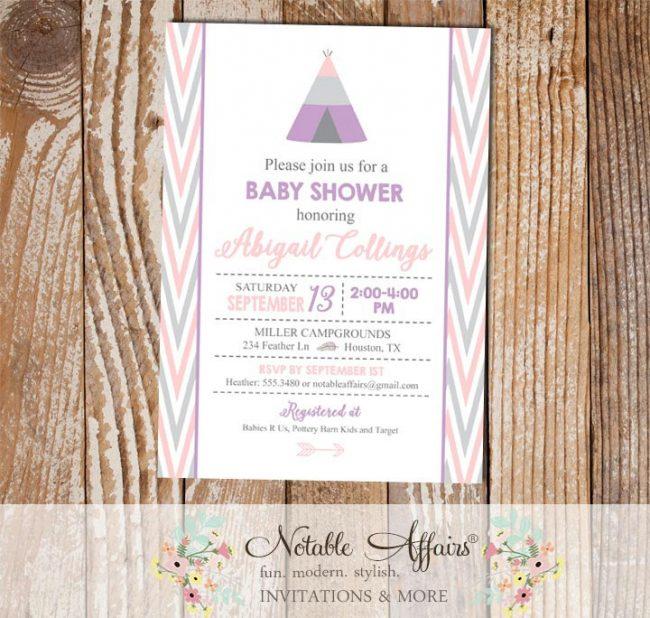 Modern pastel Indian pow wow Arrow Tent Girl Baby Shower invitation