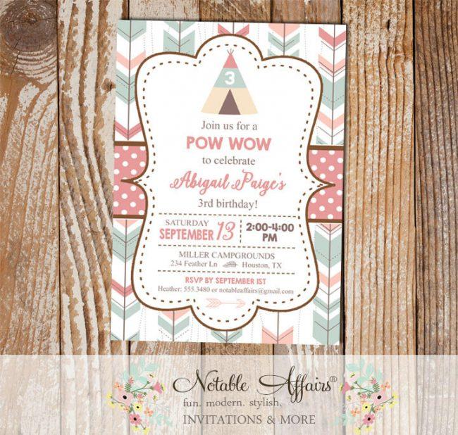 Modern pastel Indian pow wow Arrow Tent Themed Birthday Party invitation