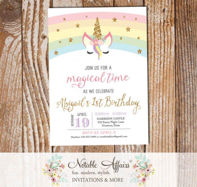 Modern Pastel Rainbow gold glitter unicorn head with stars invitation