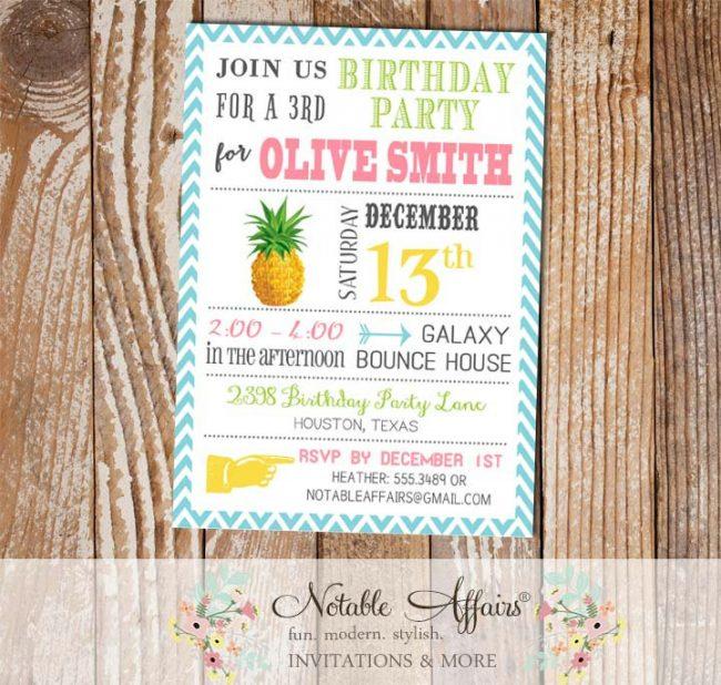 Modern Pineapple Birthday Party Invitation