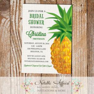 Modern Pineapple on Brown Linen Bridal Shower Invitation