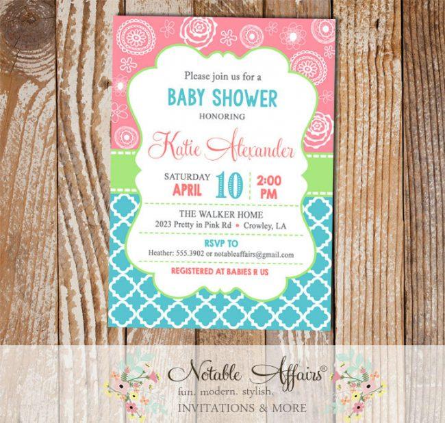 Modern Quatrefoil Flowers Turquoise Pink and Light Green Baby Shower, Birthday, etc invitation