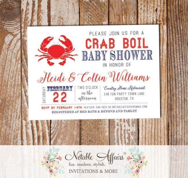 Modern Red White Dark Navy Crab Seafood Crab Boil Invitation
