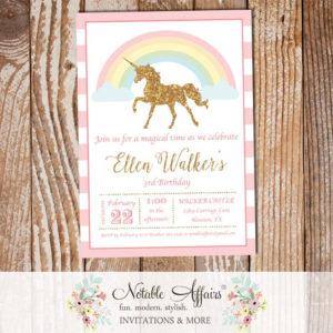 Modern Stripes Gold glitter unicorn pastel rainbow invitation