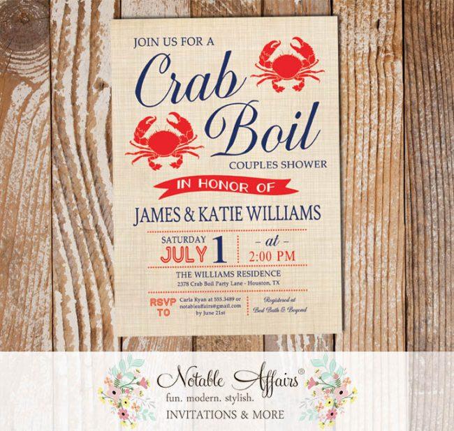 Modern Vintage Red White Dark Navy Crab Seafood Crab Boil Invitation