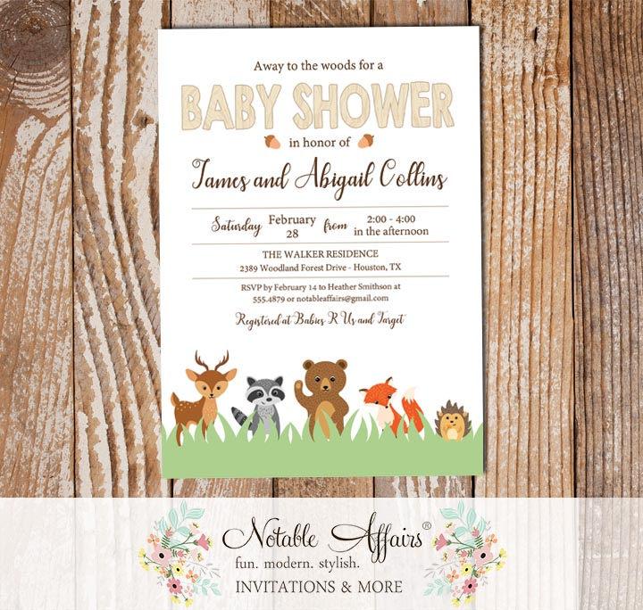 Modern Woodland Forest Animals Vertical Wood Baby Shower Invitation