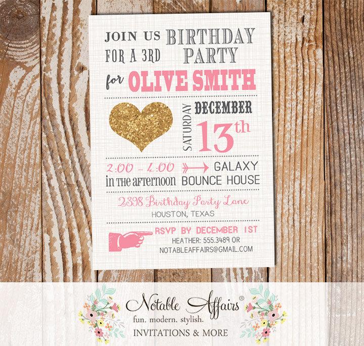Mordern Glitter Gold Heart Gray Pink Birthday Invitation