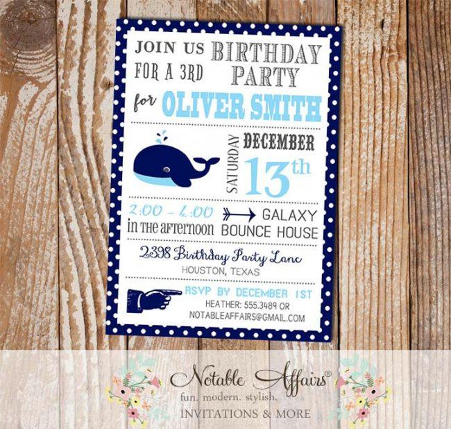 Nautical Whale Polka Dots Border Navy Blue Ice Blue Anchors Aweigh Sailing Modern Birthday Party invitation