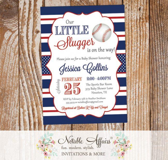 Navy and Dark Red Stripes Pinstripes Baseball Baby Shower Invitation