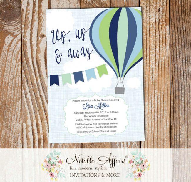 Navy Blue Mint Green Hot Air Balloon Baby Shower Birthday invitation on blue linen
