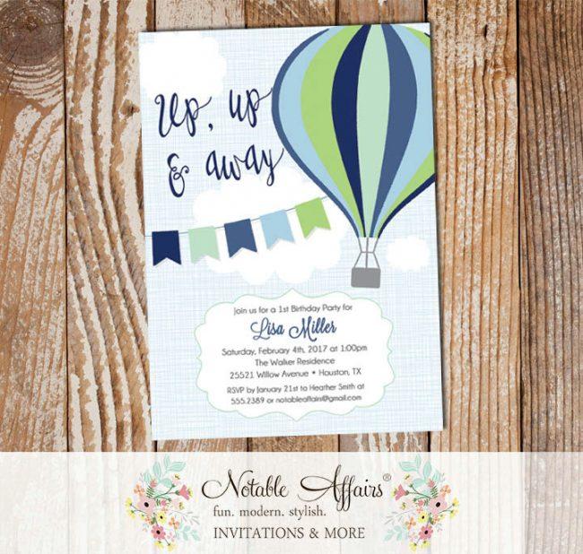 Navy Blue Mint Green Hot Air Balloon Birthday invitation on blue linen