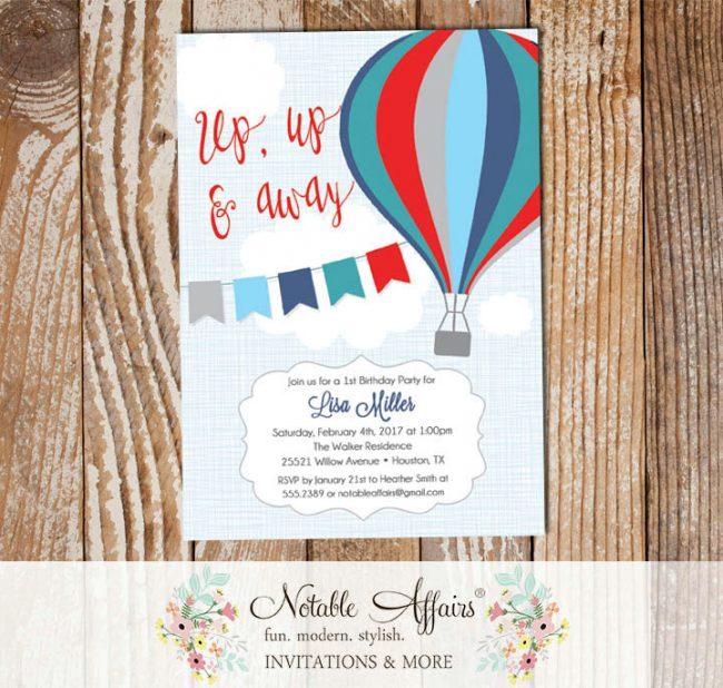 Navy Blue Red Blue Gray Hot Air Balloon Birthday invitation on blue linen