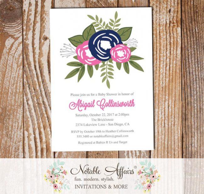 Navy Bright Pink Flower Posie Modern Floral Gender Neutral Baby Shower invitation