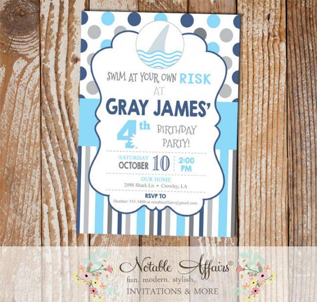 Navy Ice Blue Grays Boy Shark Polka Dots and Stripes Birthday invitation