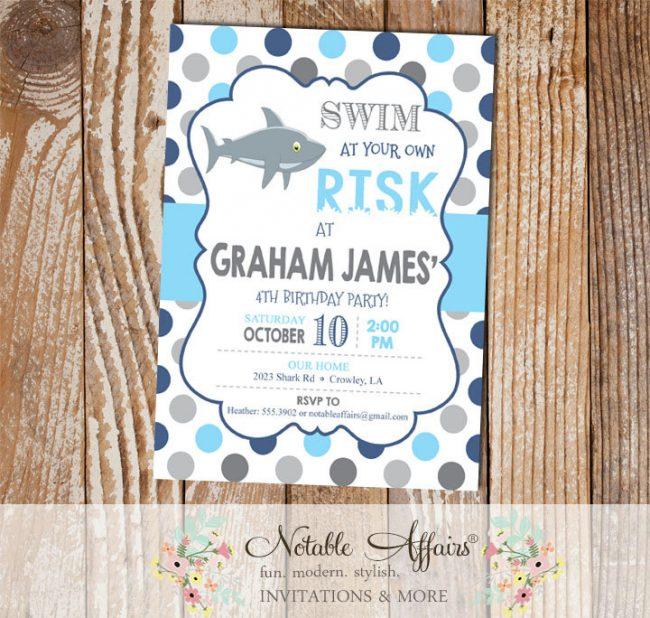 Navy Ice Blue Grays Boy Shark Swim at your own risk Polka Dots Birthday invitation