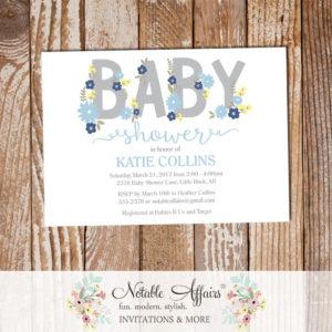 Navy Light Blue Flowers Boy Modern Baby Shower invitation