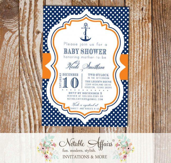 Navy Orange and White Polka Dots Anchor Nautical Baby Shower Birthday Invitation