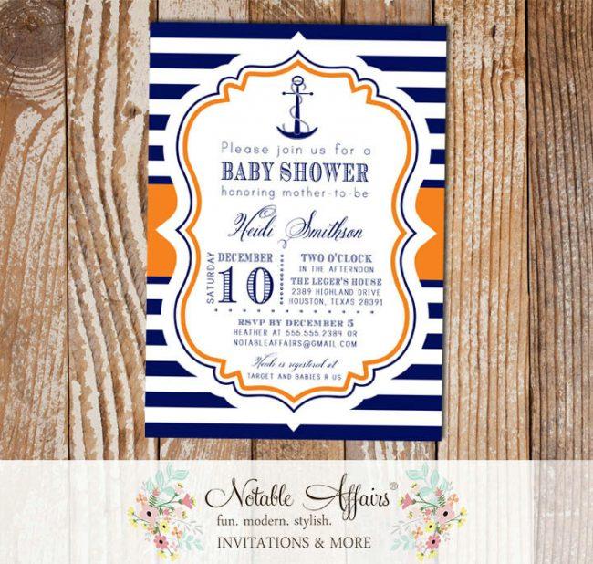Navy Orange and White Stripes Anchor Nautical Baby Shower Birthday Invitation