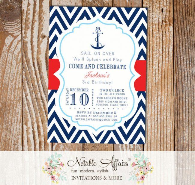 Navy Red White Baby Blue Chevron Anchor Splash Pool Party Nautical Birthday Invitation