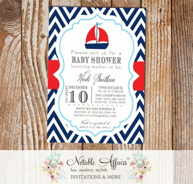 Navy Red White Baby Blue Chevron Sail Boat Nautical Baby Shower or Birthday Invitation