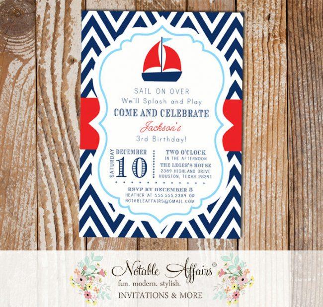 Navy Red White Baby Blue Chevron Sail Boat Splash Pool Party Nautical Birthday Invitation