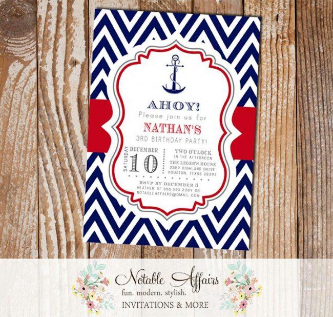 Navy Red White Blue Anchor Chevron Nautical Birthday Invitation