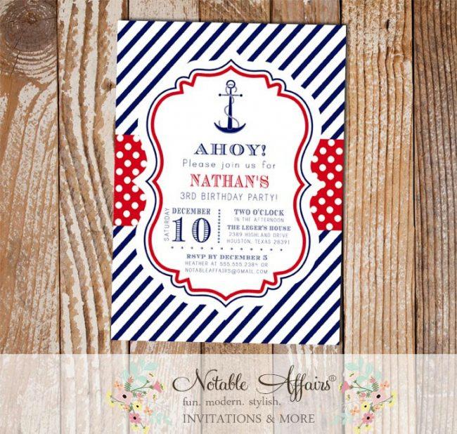 Navy Red White Blue Anchor Stripes and Polka Dots Nautical Birthday Invitation