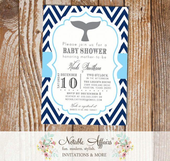 Navy White Baby Blue Chevron Whale Nautical Baby Shower or Birthday Invitation