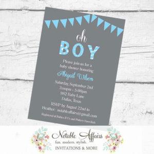 Oh Boy Bunting Baby Shower Polka Dots Stripes Invitation