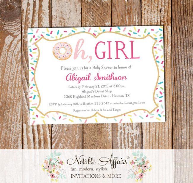 Oh Girl Donut Sprinkles Colorful Baby Shower Invitation
